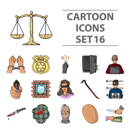 Crime-Icons im Cartoon-Stil. Große Sammlung von Verbrechen Vektor-Symbol stock Standard-Bild - 85389945