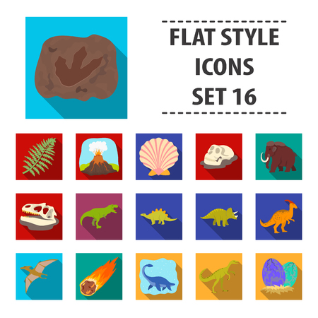 Dinosaurs and prehistoric set icons