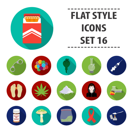 Drugs set icons in flat style. Illustration