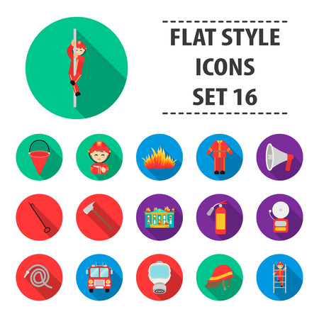 Fire department set icons in flat style. Big collection fire department vector symbol stock Фото со стока - 85412127