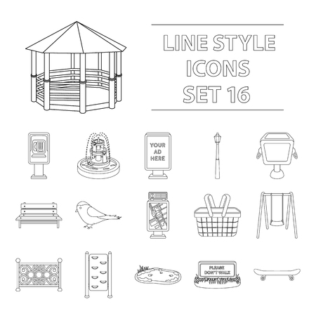 parus: Park set icons in outline style. Big collection of park vector symbol stock