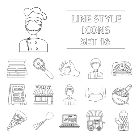 woodfired: Pizza and pizzeria set icons in outline style. Big collection of pizza and pizzeria vector symbol stock Illustration