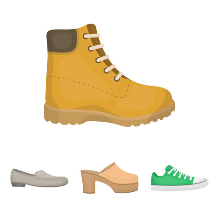 Shoes set collection icons in cartoon style vector symbol stock illustration Illustration