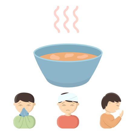 기침 한 남자, 기침하는 남자, 남자가 코딱지, 사발, 뜨거운 국물 한 그릇을 손수건으로 먹는다. 아픈 집합 만화 스타일에서 컬렉션 아이콘 벡터 기호