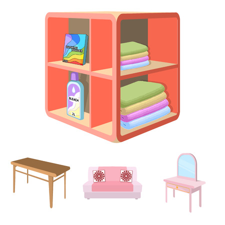 Soft sofa, toilet make-up table, dining table, shelving for laundry and detergent. Furniture and interior set collection icons in cartoon style isometric vector symbol stock illustration web.
