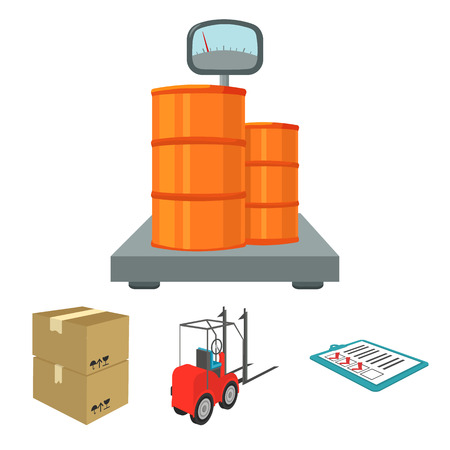 Forklift, delivery slips, packaged goods, cargo on weighing scales. Logistics and delivery set collection icons in cartoon style isometric vector symbol stock illustration web. Illustration
