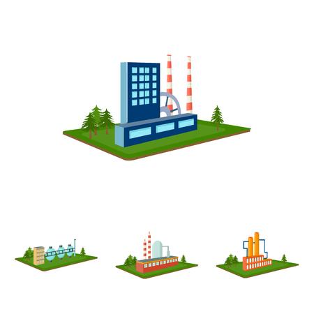 Verwerking fabriek, metallurgische fabriek. Fabriek en industrie set collectie iconen in cartoon stijl isometrische vector symbool stock illustratie web.