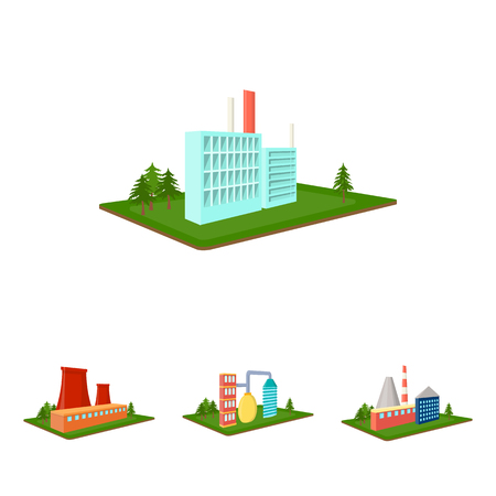 Processing factory,metallurgical plant. Factory and industry set collection icons in cartoon style isometric vector symbol stock illustration web. Фото со стока - 85561258
