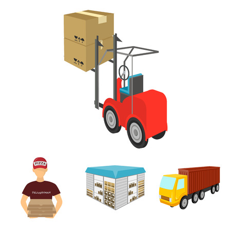 Truck, courier for delivery of pizza, forklift, storage room. Logistics and delivery set collection icons in cartoon style isometric vector symbol stock illustration web. Illustration