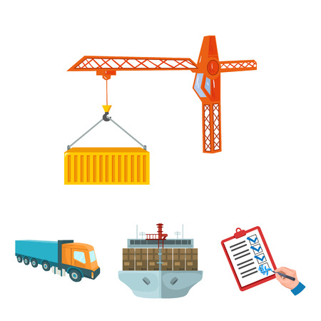 Sea freight, signature of delivery documents, truck, tower crane with a container. Logistics and delivery set collection icons in cartoon style isometric vector symbol stock illustration web.