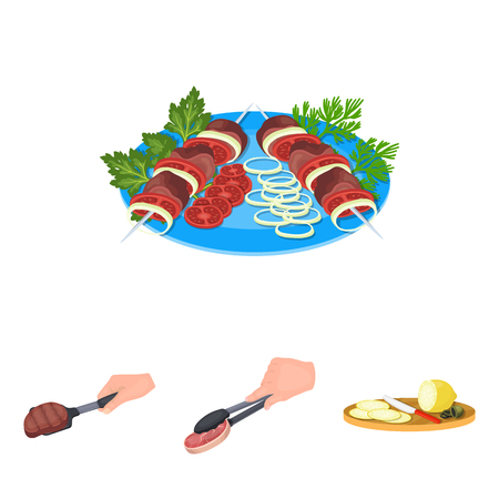 Tongs with steak, fried meat on a scoop, slicing lemon and olives, shish kebab on a plate with vegetables. Food and Cooking set collection icons in cartoon style vector symbol stock illustration .