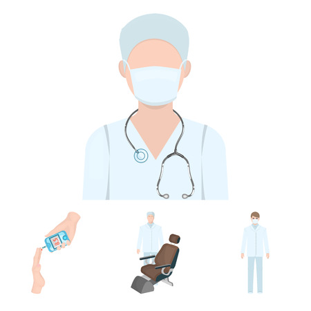 Doctor in a face mask, dentist, medical staff, a blood test for sugar. Medicineset collection icons in cartoon style vector symbol stock illustration .