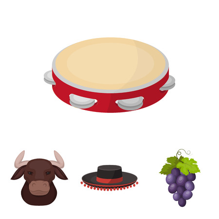 The hat of a matador, a bunch of grapes, a bull for the Spanish bullfight and a tambourine.