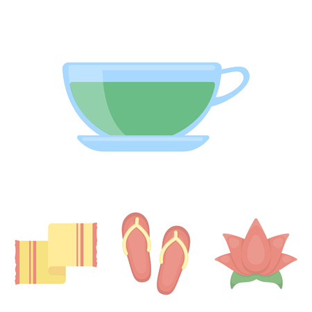 Flip-flops for the pool, lotus flower with petals, yellow towel with fringe, cup with tea, drink. Spa set collection icons in cartoon style vector symbol stock illustration web.