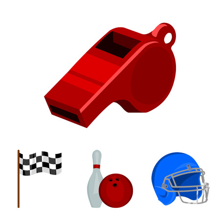 Bowl and bowling pin for bowling, protective helmet for playing baseball, checkbox, referee, whistle for coach or referee. Sport set collection icons in cartoon style vector symbol stock illustration web.
