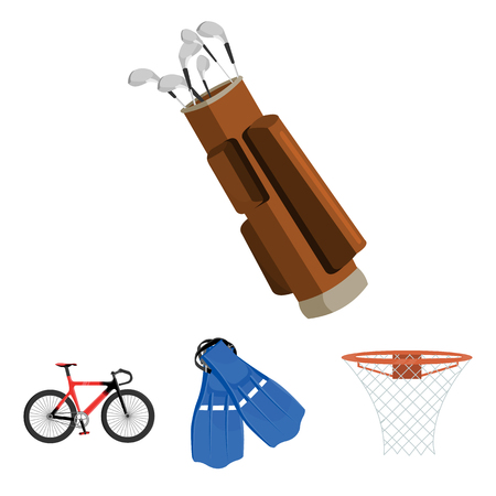 Flippers for swimming, basketball basket, net, racing holograph, golf bag. Sport set collection icons in cartoon style vector symbol stock illustration web.