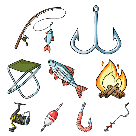 Fishing icon set collection on cartoon style vector symbol stock illustration.