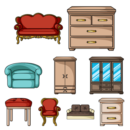 Big collection of furniture and home interior vector symbol stock illustration