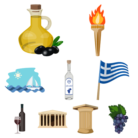 Big collection of Greece vector symbol stock illustration