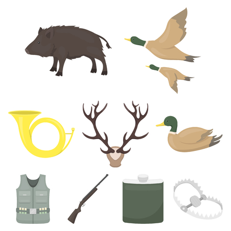 Big collection of hunting vector symbol stock illustration Çizim