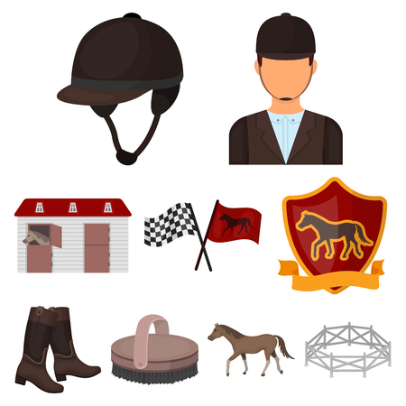 Hippodrome and horse icon set collection on cartoon style vector symbol stock illustration.