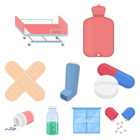 Medicine and hospital set.