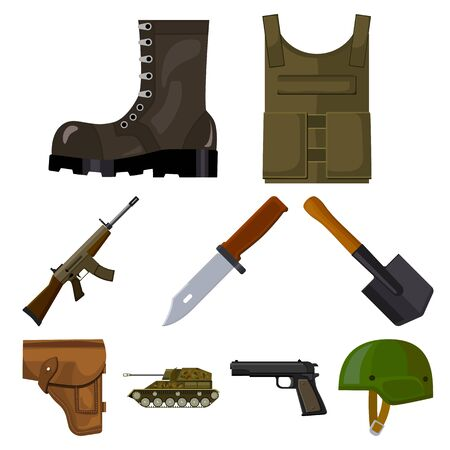 Military and army set. Illustration