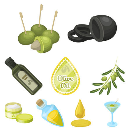 Olives, tree, branch and other products from olives. Olives set collection icons in cartoon style vector symbol stock illustration web. Illustration