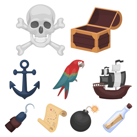 Pirates set icons in cartoon style. Big collection of pirates vector symbol stock illustration Illustration