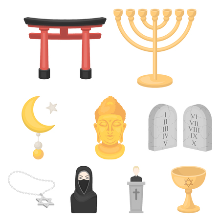 Religion set icons in cartoon style. Big collection of religion vector symbol stock illustration Illustration