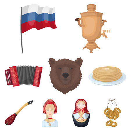 Russia country set icons in cartoon style. Big collection of Russia country vector symbol stock illustration