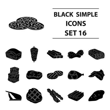 Carnes conjunto de iconos en estilo negro. Gran colección de carnes símbolo del vector stock photo