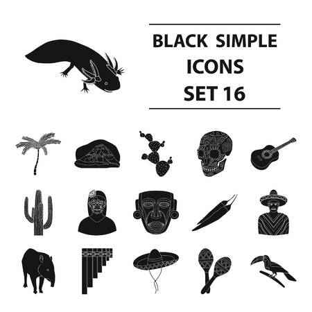 Mexico country set icons in black style. Big collection of Mexico country vector symbol stock illustration