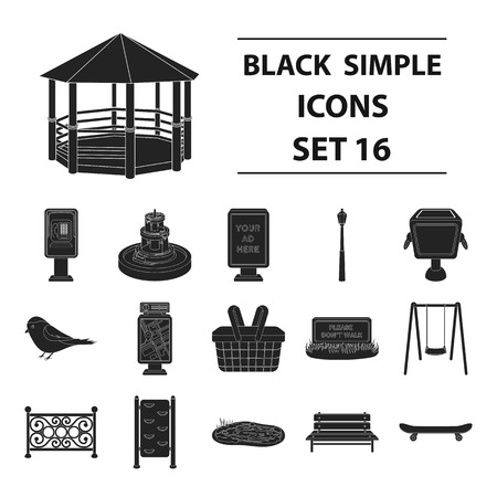 parus: Park set icons in black style. Big collection of park vector symbol stock illustration Illustration