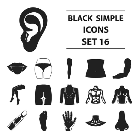 Part of body set icons in black style. Big collection part of body vector symbol stock illustration