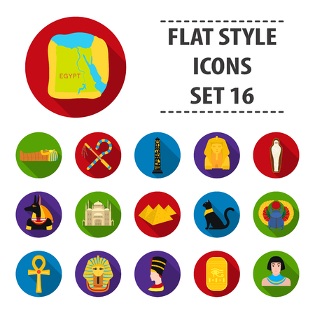 Ancient Egypt set icons in flat style. Big collection of ancient Egypt vector symbol stock illustration Иллюстрация