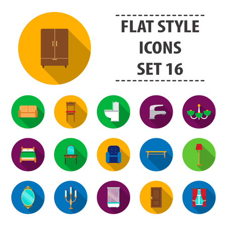 bedside: Furniture set icons in flat style. Big collection furniture vector symbol stock illustration