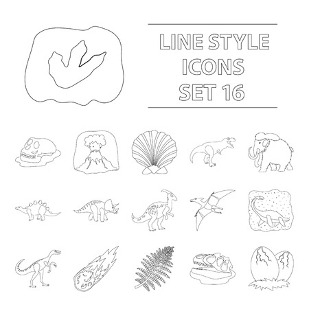 Dinosaurs and prehistoric set icons in outline style. Big collection of dinosaurs and prehistoric vector symbol stock illustration