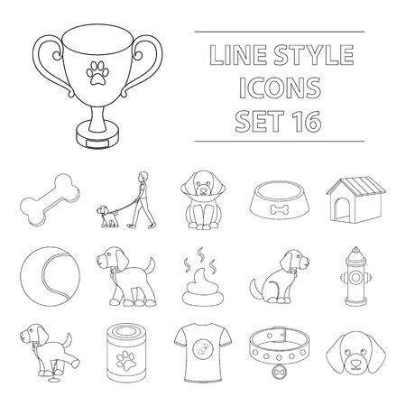 Dog equipment set icons in outline style. Big collection of dog equipment vector symbol stock illustration Illustration
