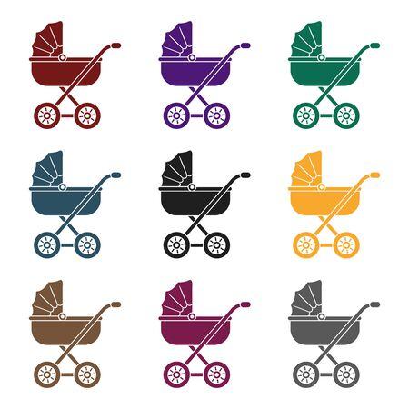 黒のスタイルで赤ちゃんの輸送アイコン。  イラスト・ベクター素材