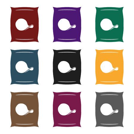 crunchy: Potato chips icon in black style. Illustration