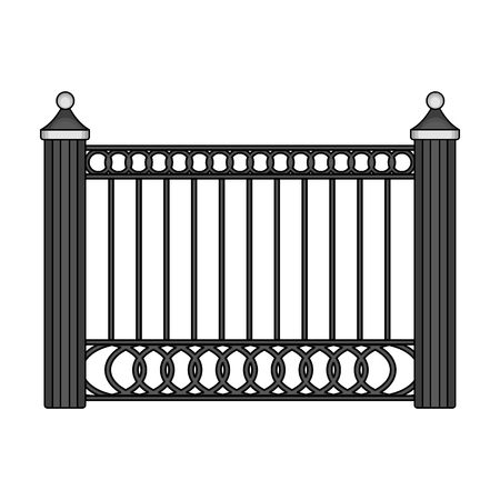 palisade: A fence of metal . A different fence single icon in monochrome style vector symbol stock illustration .