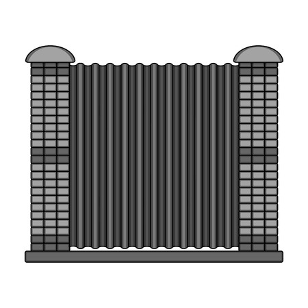 A fence of metal and bricks. A different fence single icon in monochrome style vector symbol stock illustration web.