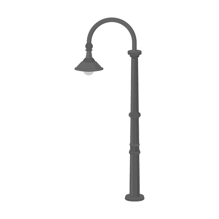 Lamppost with a conic bubble.Lamppost single icon in monochrome style vector symbol stock illustration web. Çizim