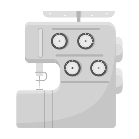 Electric sewing machine, overlock. Sewing and equipment single icon in monochrome style vector symbol stock illustration . Illustration