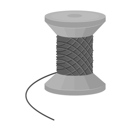 sewing machines: The wooden coil of thread for sewing. Sewing and equipment single icon in monochrome style vector symbol stock illustration .