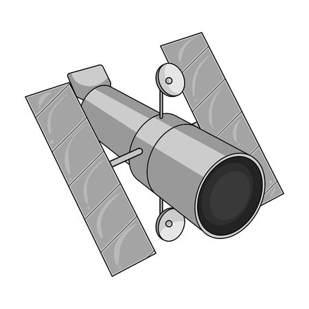 Space station in orbit. Space technology single icon in monochrome style vector symbol stock illustration .