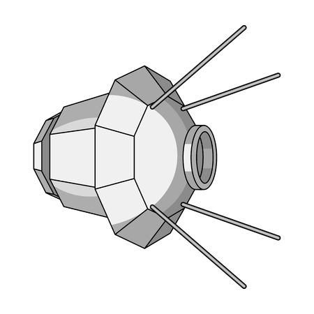 Artificial, space satellite of the Earth. Space technology single icon in monochrome style vector symbol stock illustration .