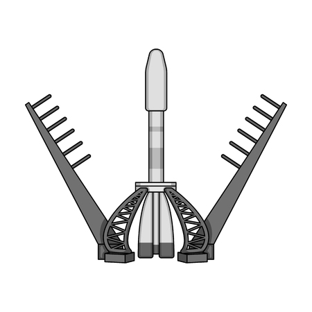 Launch of the spaceship. Space technology single icon in monochrome style vector symbol stock illustration . Illustration