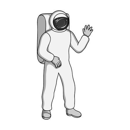 Cosmic space suit. Space technology single icon in monochrome style vector symbol stock illustration . Illustration